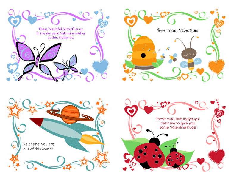 Kids Valentine's Day cards, 24  designs