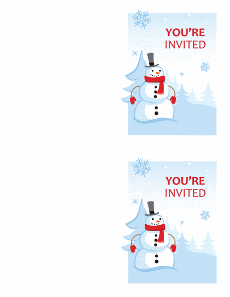 Winter party invitations (Cheerful Snowman design, 2 per page, works with Avery 3259, 8317)
