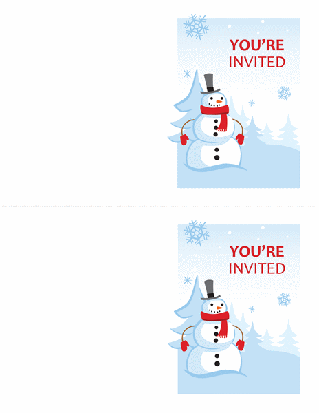 Winter party invitations (Cheerful Snowman design, 2 per page)