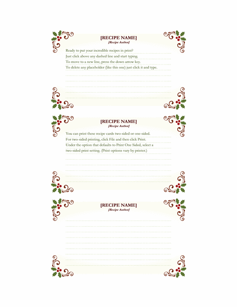 Recipe cards (Retro Holiday design, works with Avery 5388, 3 per page)
