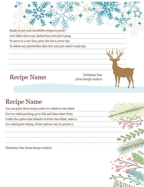 Recipe Cards Christmas Spirit Design Works With Avery 5889
