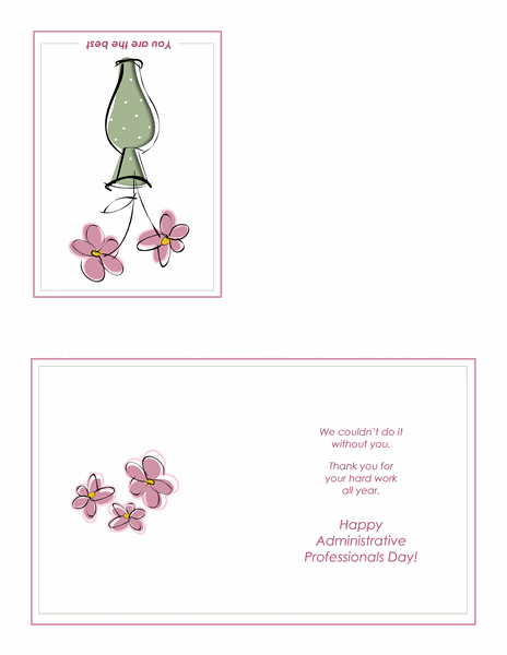 Administrative Professionals Day card (floral design, quarter-fold)