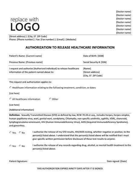 Authorization to release healthcare information (online)
