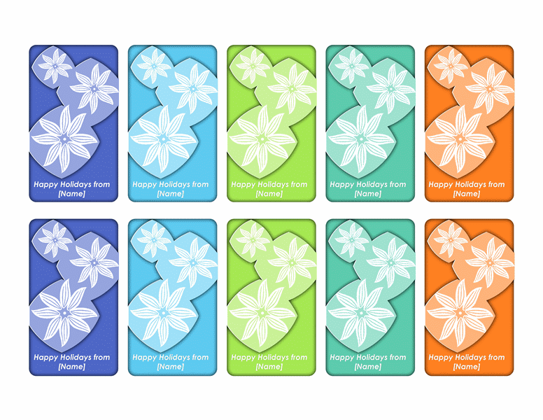 Holiday gift tags (mod flower design, 10 per page)