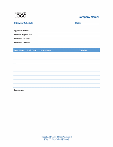 Schedules Office – Sample Interview Schedule Template