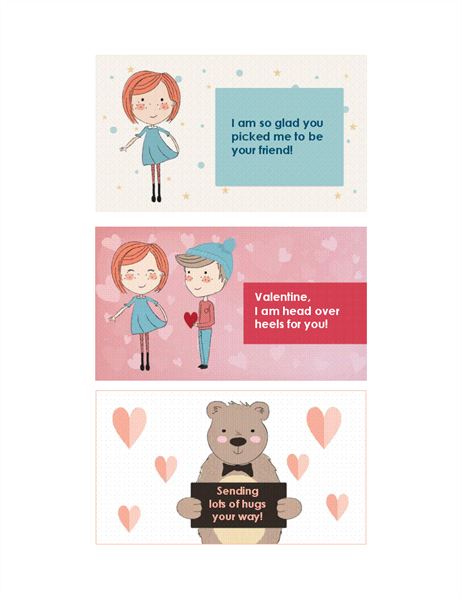 Valentines for kids (12 designs, 3 per page)