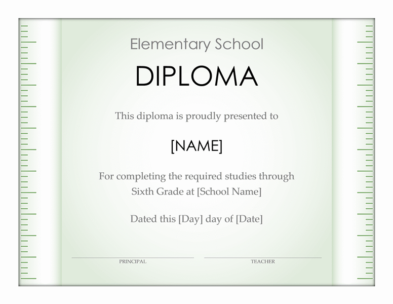 Elementary School Diploma Certificate (Ruler Design)  Ms Office Certificate Template