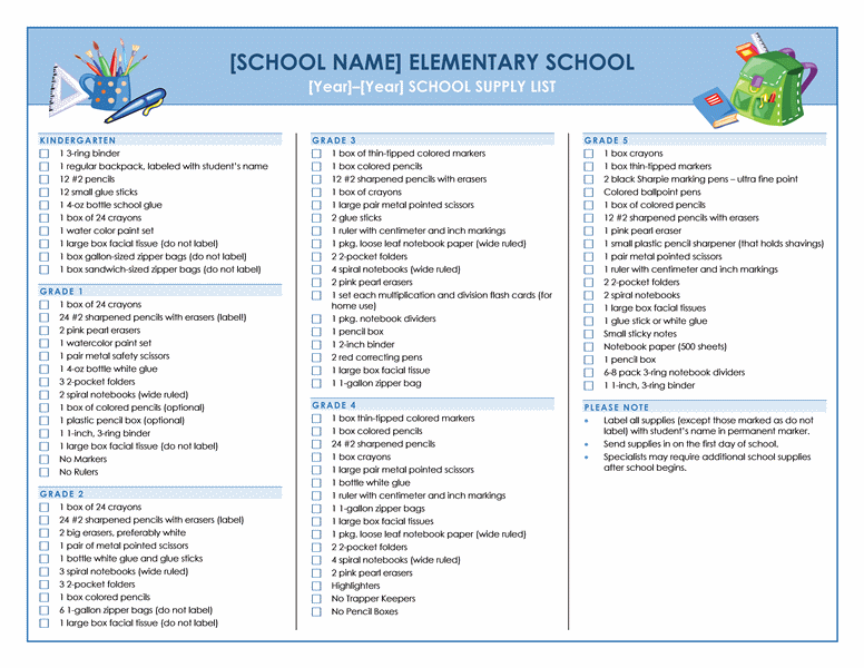 Elementary school supply list