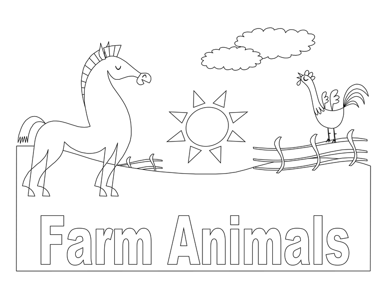 Farm animals coloring book (8 pages)