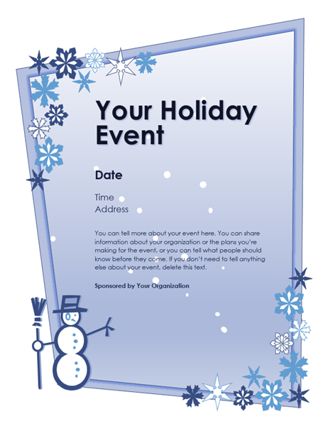 Winter Holiday Event Flyer Regarding Free Holiday Flyer Templates Word