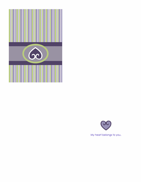 Love card (purple, quarter-fold)