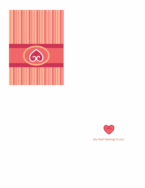 Love card (red, quarter-fold)