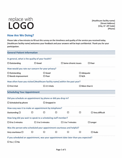 Medical Practice Survey  Feedback Form Word Template