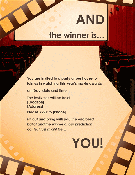 Movie awards party invitation (full page)