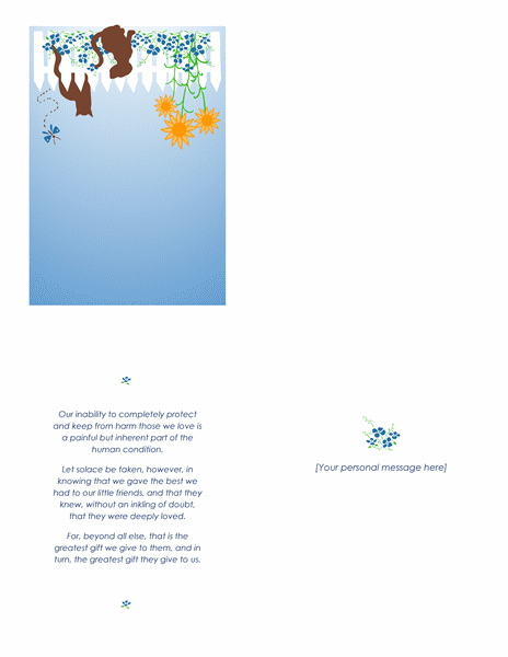 Pet loss sympathy card (quarter-fold)