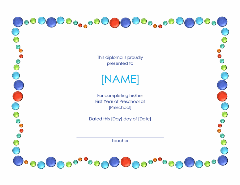 Preschool Diploma (with Colorful Dots)  Diploma Word Template