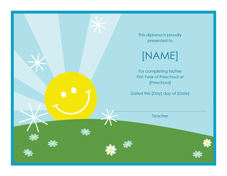 Preschool Diploma Certificate (Sunshine Design)  Award Templates Word