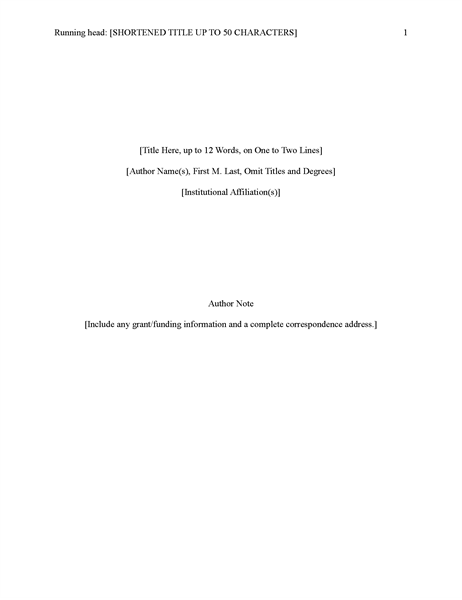 Apa 6th edition research paper title page