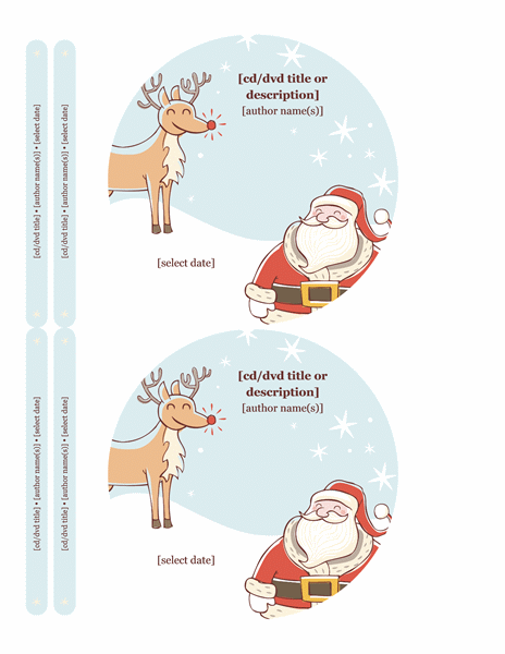 Christmas CD labels (Christmas Spirit design, 2 per page)