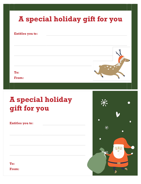 Christmas gift certificate christmas spirit design office templates for Holiday gift certificate templates