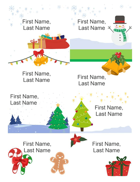 Holiday name badges (8 per page, Christmas Spirit design, works with Avery 5395 and similar)