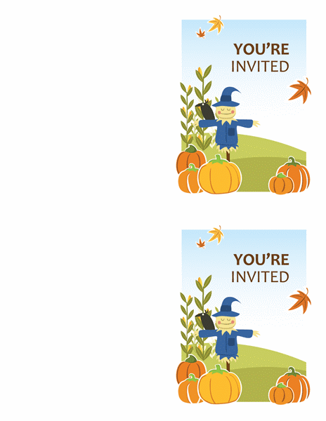Fall party invitations (2 per page, works with Avery 5315 and similar)