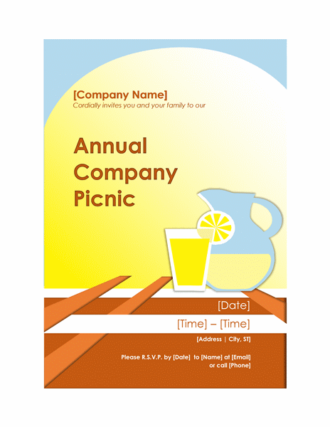 Company Picnic Invitation Flyer  Company Party Invitation Templates