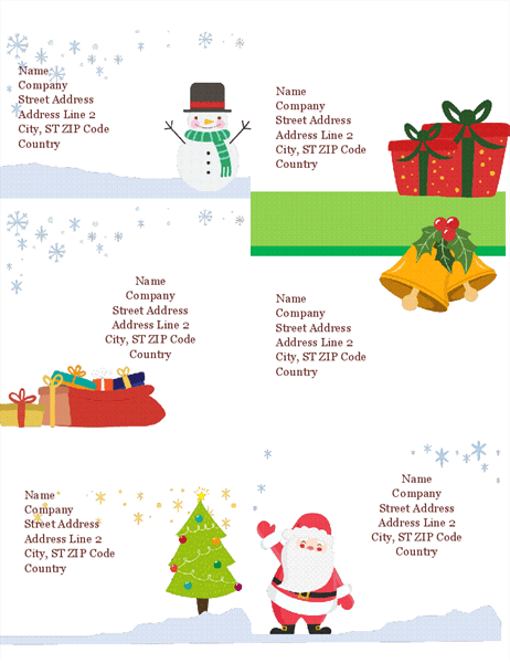 Holiday Shipping Labels Christmas Spirit Design 6 Per Page Works