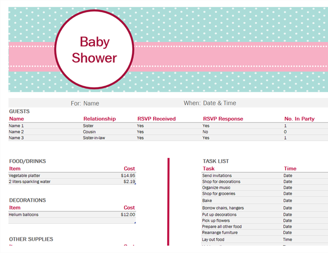 Baby shower planner Office Templates – Baby Budget Worksheet