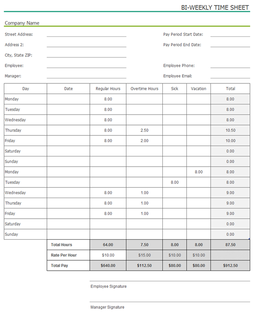 Biweekly time sheet with sick leave and vacation with sample data – Sample Blank Timesheet