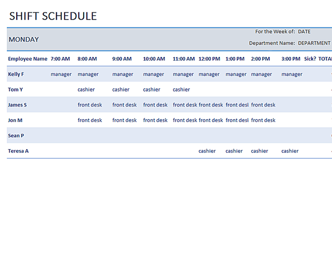 Weekly employee shift schedule - Office Templates
