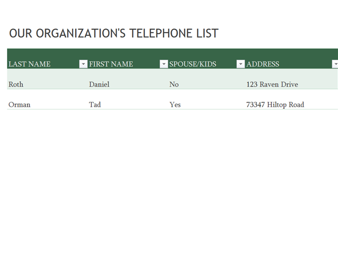 Employee Phone List  Phone Roster Template