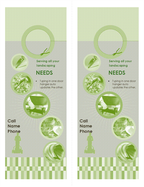 Door hanger for landscape business (2 per page)