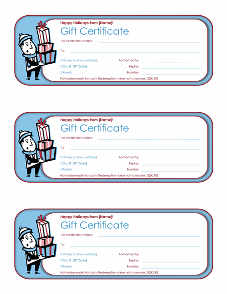 Holiday gift certificates (3 per page)