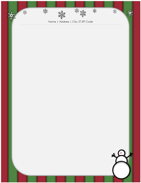 holiday stationery with snowman