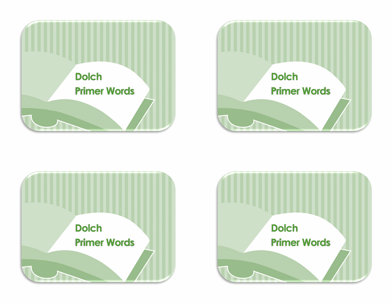 Vocabulary flash cards (Dolch preprimer sight words, back side)