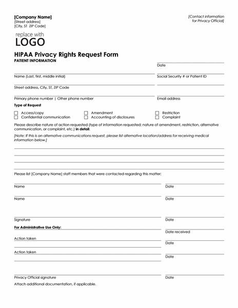 HIPAA Privacy Rights Request Form  Information Templates