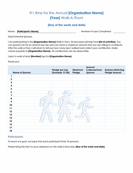 Walkathon fundraiser pledge form Office Templates – Fundraising Forms Templates Free
