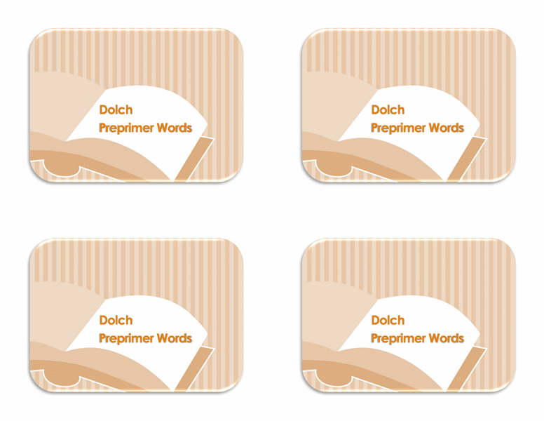 Vocabulary flash cards (Dolch primer sight words, back side)