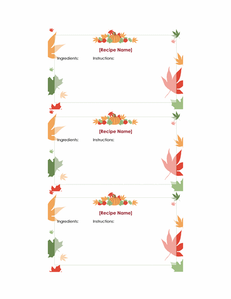 Thanksgiving recipe cards (3 per page)