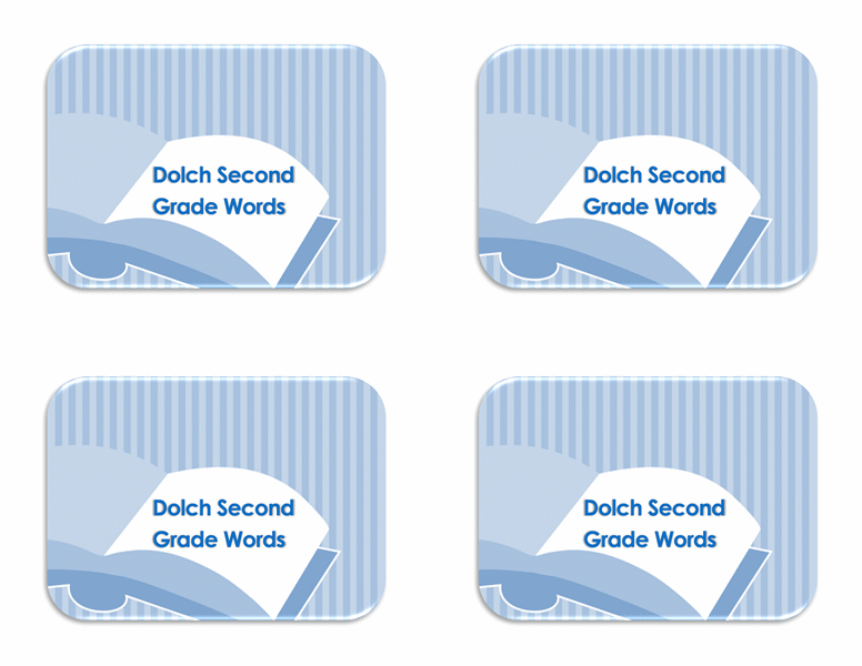 Vocabulary flash cards (Dolch 2nd grade sight words, back side)