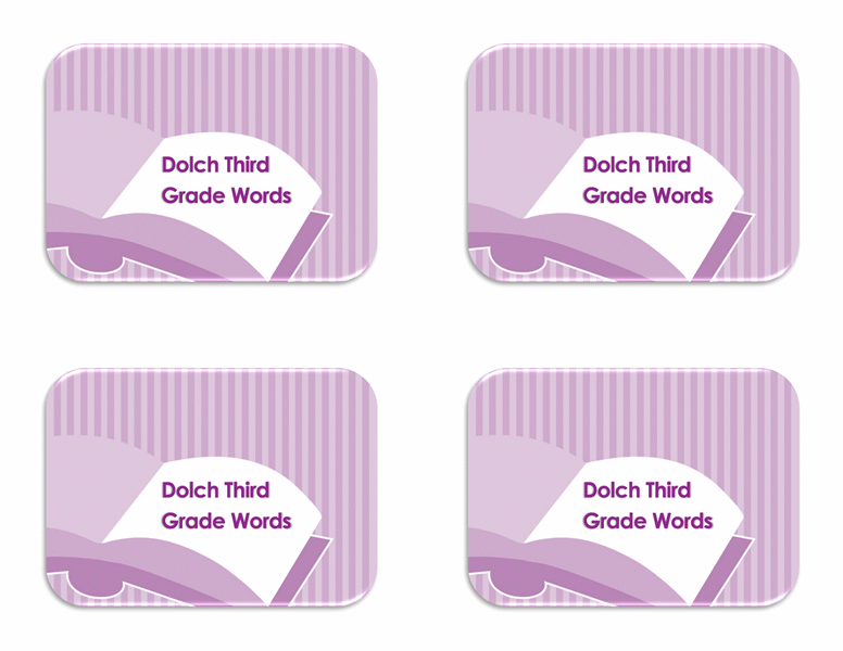Vocabulary flash cards (Dolch 3rd grade sight words, back side)