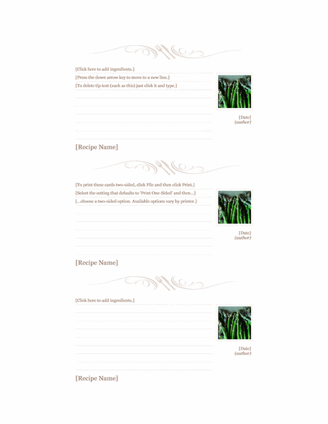 Recipe cards (Utensil design, 3 per page, for Avery 5388)