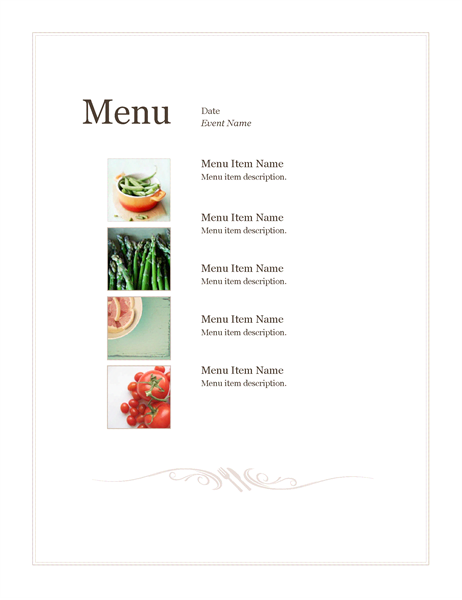 Event Menu (Simple Design)  Free Cafe Menu Templates For Word