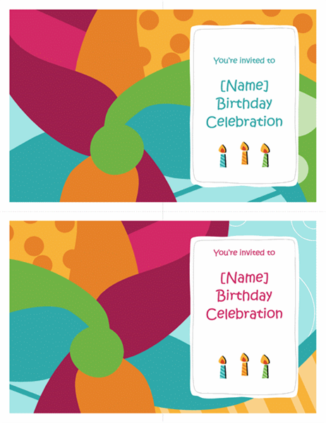 Birthday party invitations (Bright design, 2 per page)