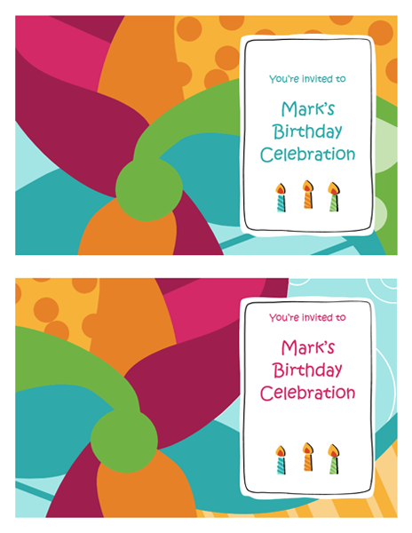 Birthday party invitation cards (Bright design, 2 per page, works with Avery 3379 and similar)