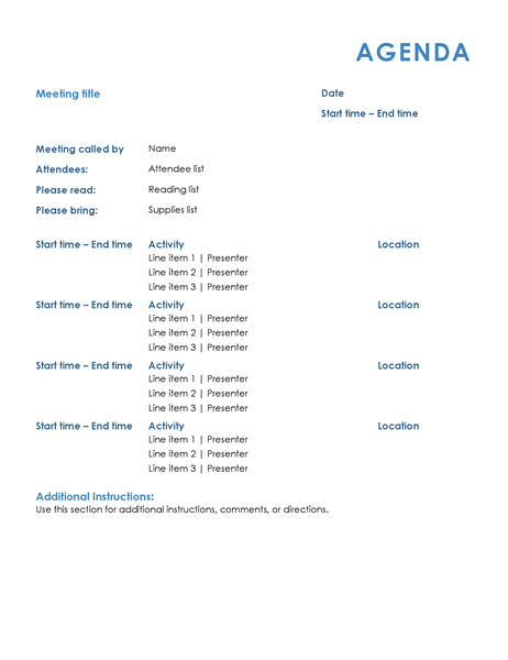 All day meeting agenda formal Office Templates – Agenda Template Microsoft