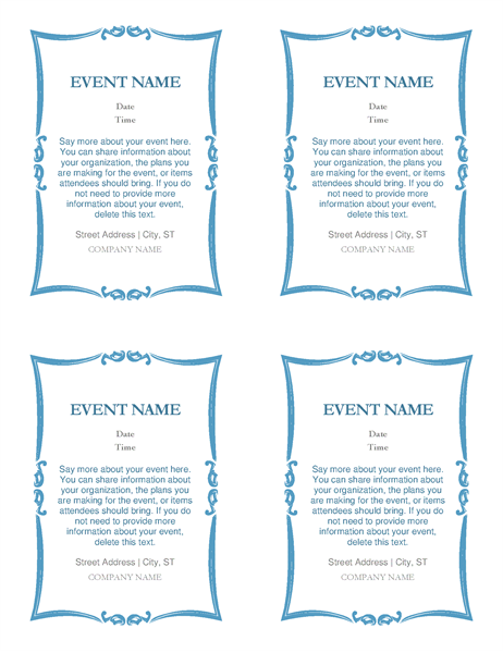 Event invitations (4 per page) - Office Templates