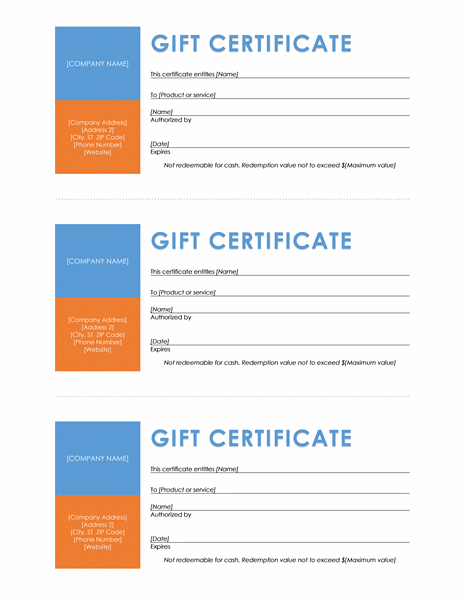Gift certificates (color block, 3 per page)