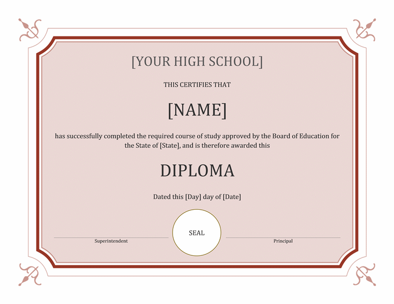 High school diploma certificate (formal)